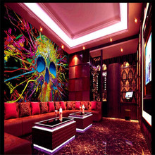 Customize Size Modern Wall Paper Background Hip Hop Color Graffiti Skull Art Wall Covering Decor Living Room Mural Wallpaper(China)