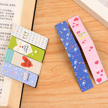 6 pcs/lot Cute Kawaii Heart Magnetic Bookmark Creative Noctilucent Paper Book Marks School Supplies Free Shipping 3808