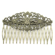 Doreen Box hot-  Hair Clips Comb Shape Flower Antique Bronze Hollow 8.1x5.5cm,10PCs (B23892)