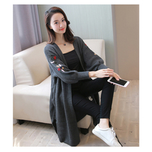 New Autumn Women Cardigan Sweater Foral Embroidered 3/4 Lantern Sleeve Loose Mid Long Sweater Leisure(China)