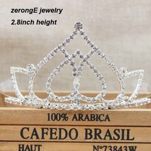 zerongE jewelry 2.8inch pageant heart crystal crown tiaras lady party hair jewelry tiara headband prom/carnival crown tiaras