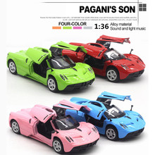 Fast delivery 4 Colors Diecast Metal Alloy Car 1:36 Pull Back Sports Racing Cars Die Cast Model Simulation Sound Light Toys Gift(China)