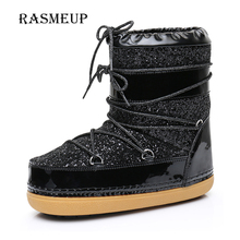 RASMEUP Women's Space Boots Winter Lace Up Plush Inside Warm Women Snow Ankle Boots Casual Woman Sequins Flat Work Safety Shoes(China)