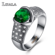 LUALA Green Crystal Glass Rings For Women White Gold-Color Female Wedding Rings Lace Retro Rings Banquet Fashion Jewelry