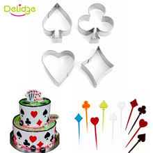 Delidge 4pcs/set Poker Card Cookie Mold 3D Stainless Steel Cake Mould Fondant Bread Cookie Cutter Kitchen Christmas Baking Tools
