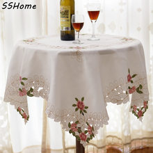 5580 fashion embroidered table cloth dining table cloth tablecloth table cloth chair covers chair cover white(China)