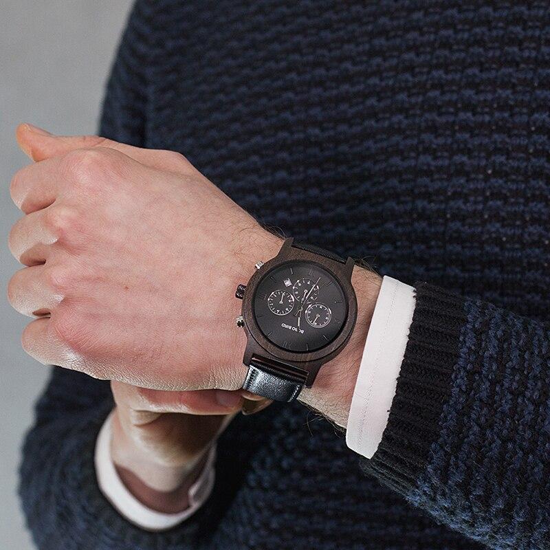 Drewniany zegarek Bobo Bird Luxury P28-1 na ręce