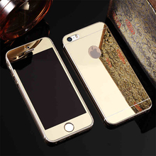 2 pcs/lot Front+Back Colorful Screen Film Premium Tempered Mirror Glass Electroplating for iphone 5 5s 6 6S 7 7 plus (NO Logo)