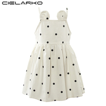 Cielarko Girls Dress Summer Cotton Children Strap Dresses Sleeveless Polka Dot Baby Party Frocks Casual Kids Clothing for Girl(China)