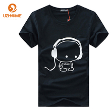 Hip Hop Camiseta Printing Music with Earphone Cotton 2016 t shirt Men Brand Famous Men t shirts Fashion Short Sleeved Tees
