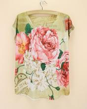 Big flower print tshirt plus size tops for women western lady fashion design clothes short sleeve o-neck t-shirt discount sale