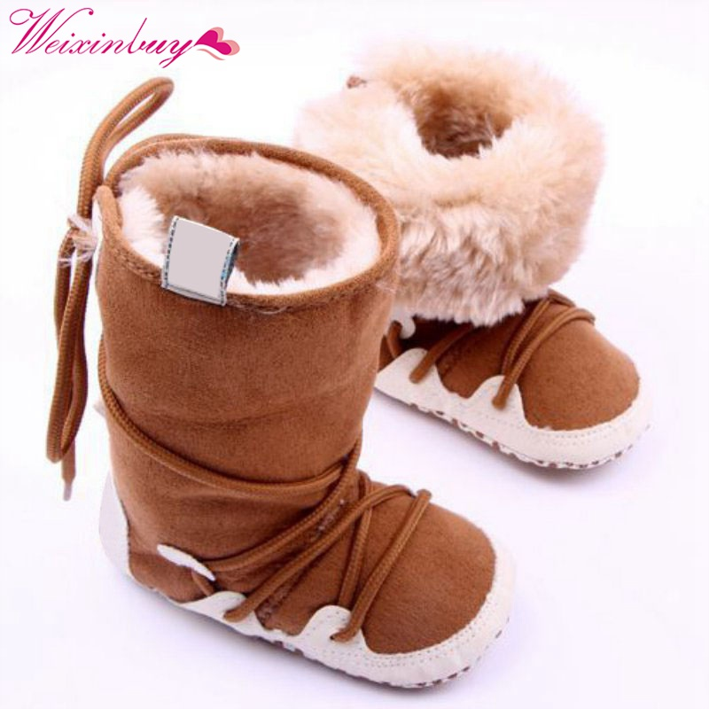 Infant Toddler Winter Warm Snow Boots Front Zipper Kid Plus Velvet Sneakers Shoe