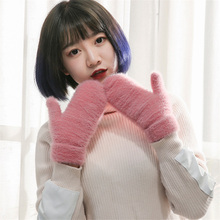 Liva Girl Women's Winter Warm Wool Gloves wool cloth with soft nap is pure color bag gloves More warm velvet glove(China)