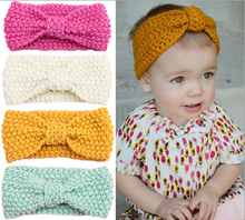 1Pc New Bow Knot Headband for Winter Girl Crochet Head wrap Warmer Knitted Bow Hairband turban Hair Band Hair Bow Accessories