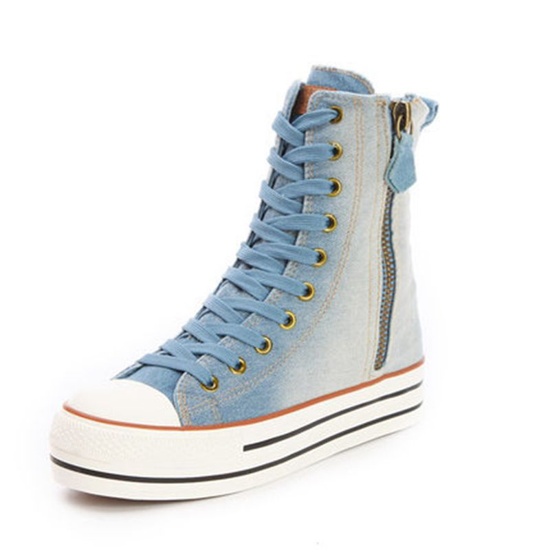 2017 new style High women canvas shoes female casual shoes side zipper shoes Breathable lace-up high heels women denim shoes<br><br>Aliexpress