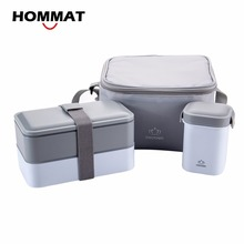High Quality Japanese Bento Lunch Boxs w/ Water Soup Mug Insulated Lunch Cooler Tote Bag Food Container Lunchbox Microwave Safe