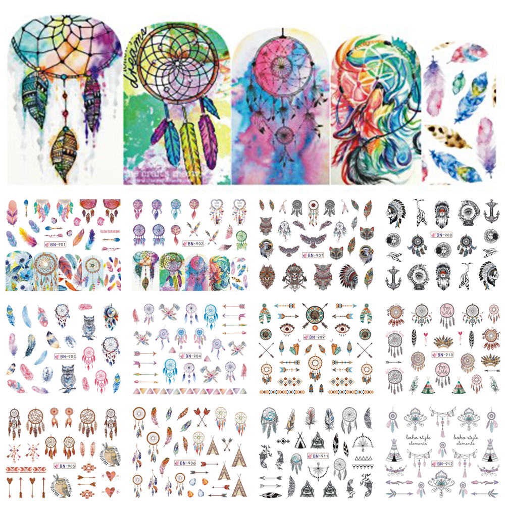 12 Designs Colorful Nail Water Decals Slider Dream Catcher Feather Harajuku Owl Nail Wraps Tattoo Decoration Access BEBN901-912