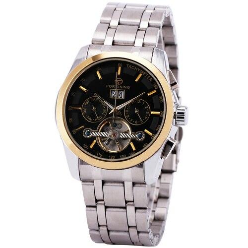 WINNER Men Automatic Mechanical Watch Date Calendar Skeleton Stainless-Steel Strap Tourbillon Sub-dial golden bezel montre homme<br>