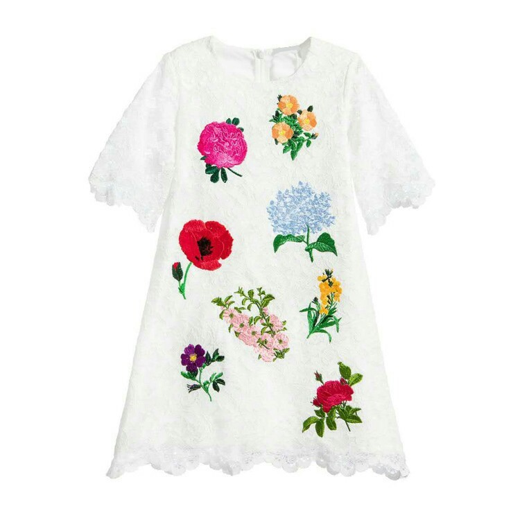 2017 European High-end Girl Dress Princess Heavy Embroidery Pure Cotton <br>