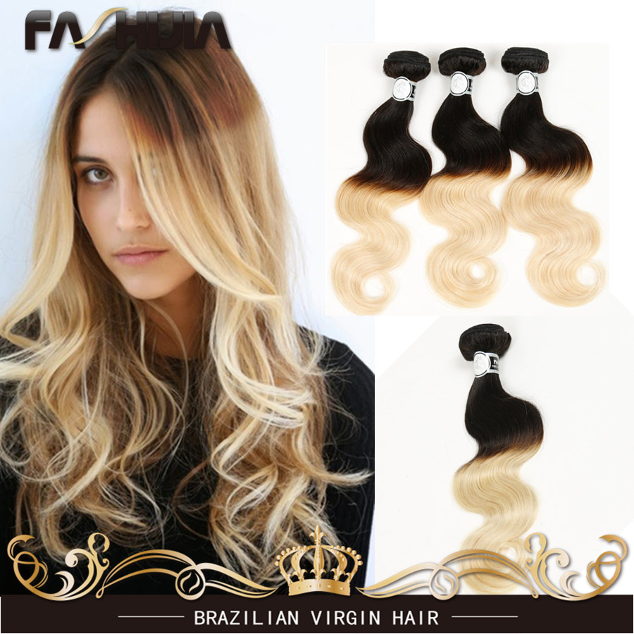 Ombre Blonde Brazilian Virgin Human Hair Body Wave 1b 613 Ombre Two Tone Human Hair Extension 4Pcs Lot Dark Roots Blonde Hair<br><br>Aliexpress