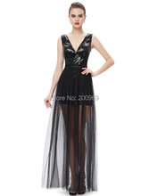 [Clearance Sale] Prom Dresses Ever Pretty HE08492BK Summer Styles Vestidos Prom Sexy Two-piece V-neck Sequined Prom Dress(China)