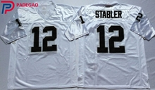 Embroidered Logo Ken Stabler 12 white black Throwback high school FOOTBALL JERSEY for fans gift cheap 1108-13(China)