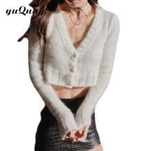 yuqung Women's Cardigan v-Neck long Sleeve buttons short Knitted Sweater Outerwear Jacket white coat poncho pull femme d84