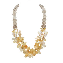 Natural Citrines Smoky Quartzs Keshi Pearl Necklace Stone Toggle Clasp Approx 62cm/24''