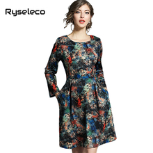 Ryseleco Quality Fashion Vintage Painting Prints A-line Flare Dress Women Autumn Winter Slim Elegant Casual Basic Vestidos Cloth(China)