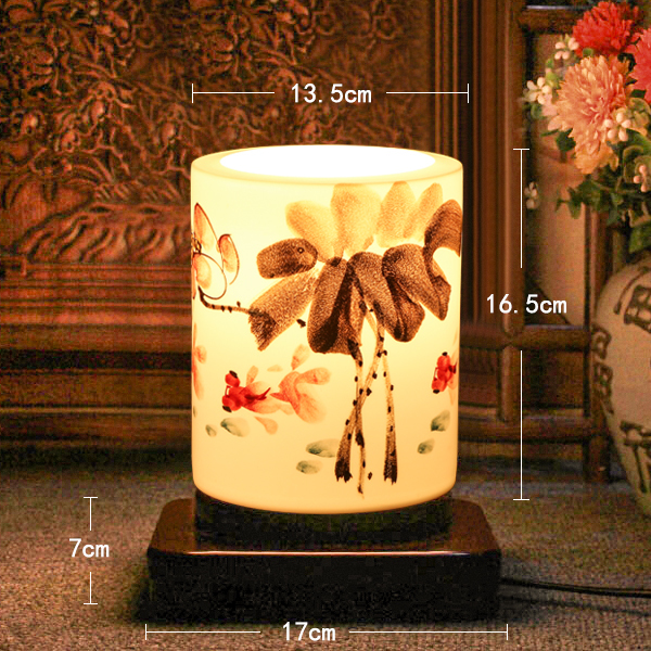 New Arrival Japan Style E27 Small Wood Plate Pen Bucket Hand-Painted Ceramic Desk Lamp Wedding Gifts Christmas Gifts<br><br>Aliexpress
