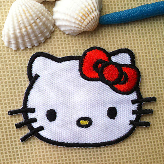 Free Shipping Hello Kitty Embroidered patch iron on Motif Applique, garment embroidery patches DIY accessories(China (Mainland))