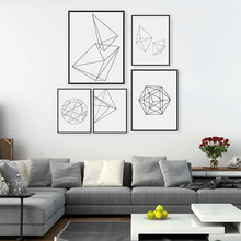 Minimalist Black Geometric Shape A4 Large Poster Print Modern Abstract Wall Art Picture Hipster Nordic Home Deco Canvas Painting(China)