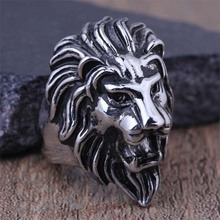 2016 New Stainless Steel Fashion Lion Head Finger Rings For Men Punk Biker Party Animal Jewelry boyfriend Gift Size 8-13 (A419)