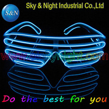 IIce Blue EL Wire Glowing Flash Shutter LED Glasses Battery Box  for DJ/Party/Christmas Holiday Fashion glasses blinking glasses