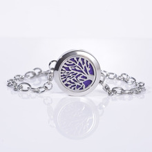 1Pcs Tree Pattern Carved Stainless Steel Aromatherapy Essential Oils Diffuser Locket Bracelet Jewelry