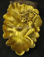 FREE SHIPPING ++ Exquisite China Brass Lotus leaf Belle Statue On Leaf Ashtray NR6699
