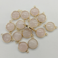 fashion 12pcs Pink Quartz natural Stone Necklace Gold plating metal connectors for jewelry making Double hole accessories