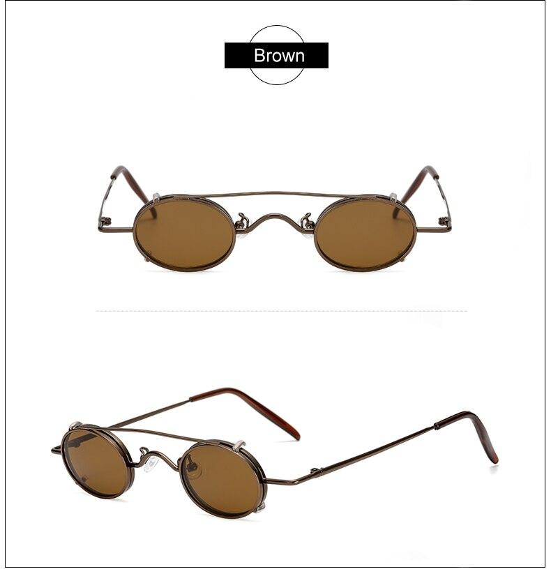 Ralferty Vintage Small Clip On Sunglasses Women Men Retro Mini Steampunk Goggles Punk Sun Glasses UV400 Eyewear Accessories B012 12