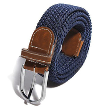Male Female Belt Buckle Canvas Leather Belt Strap Waistband Elastic 6 Colors