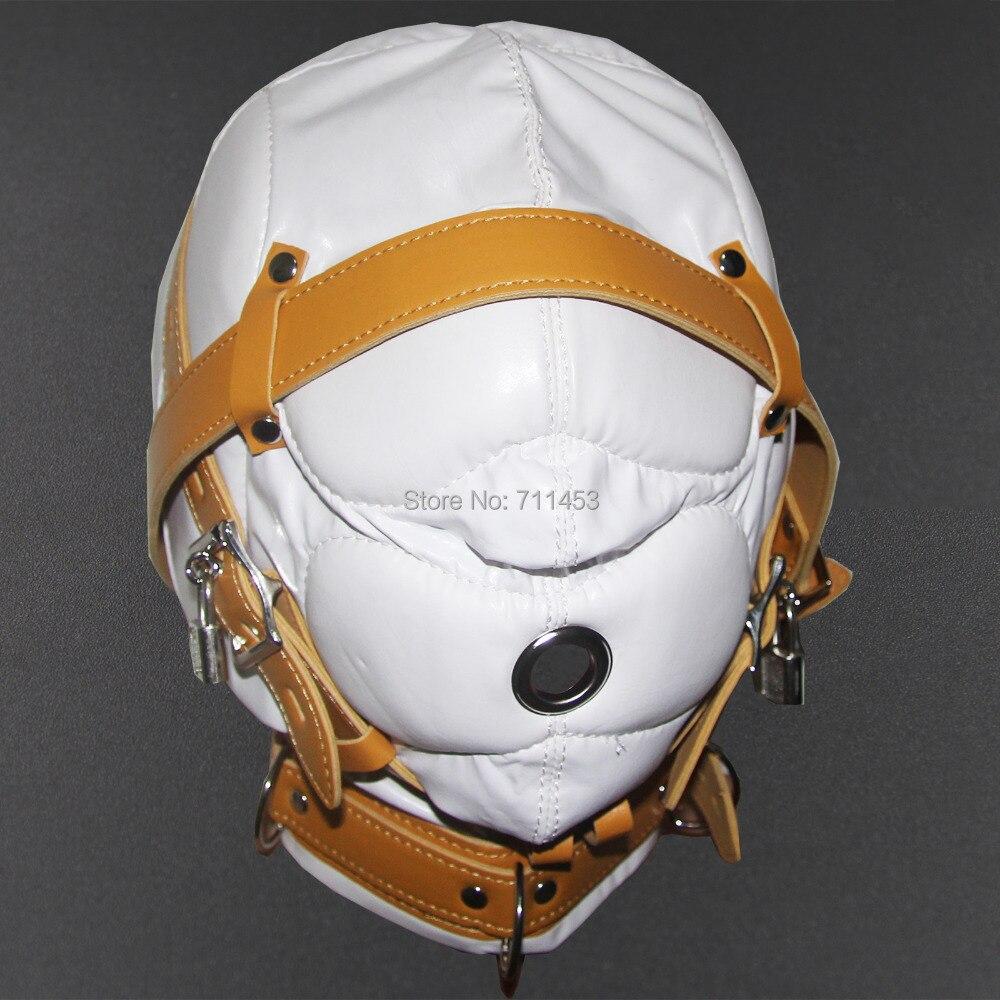 Soft Leather Masks Hood Mask Total Wrap Thicken Full Head Harness Masks Fetish<br>
