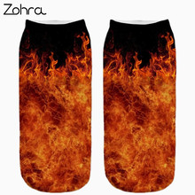 Zohra Hot Sales Flame Graphic 3D Full Print Women Men Low Cut Ankle Socks High Quality Cotton Sock Hosiery Women Socks