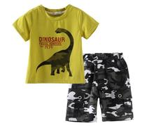 Children Boys Army Clothing Set Summer Fashoin 2-7Y Kids Clothes Set Boy Cotton Print Dinosaur T Shirt and Camouflage Pants Suit
