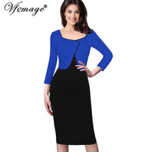 Vfemage Women Autumn Winter Elegant Faux Jacket One-Piece Contrast Color-block Patchwork Wear To Work Business Sheath Dress 7919