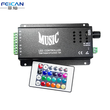 DC12-24V 12A LED Music Controller 24 Keys Wireless IR remote Control RGB Dimmer 2 Ports Output For RGB LED Strip Light