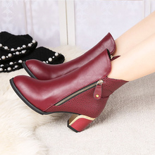 Ladies boots spring women shoes female ankle dress boots bling square heel solid black/red shoes fabric autumn boot size 34-42(China)