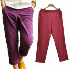 Women Pants Cotton Linen Elastic Waist Purple Red Black White Pants Women Ladies Summer Basic Comfortable Trousers