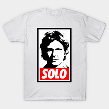 2017 Summer New Arrival Men Brand Clothes T Shirt Star Wars Han Solo Obey Giant Print T-Shirt Hip Hop Homme White Cool Tops Tees