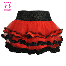Buy Black / Red 3 Layer Ruffle Tulle Tutu Skirt Women Petticoat Underskirt Lolita Short Sexy Mini Skirts Womens 2017 Club Dancewear for $15.69 in AliExpress store