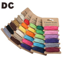 DC 6 Color Mixed Colored Knitted Hemp Cords Ropes fit DIY Handmade Braided Beaded Necklace Bracelet Jewelry Making Findings(China)