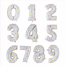 10pcs 40 inch Alphabet Helium Foil Balloon Number Balloons star printed balloons Birthday New Year party Wedding Decoration